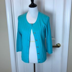 Talbots | Turquoise Cable Knit Cardigan, L